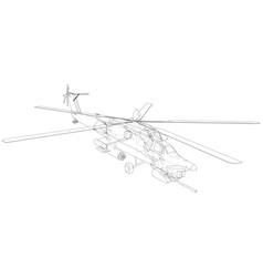 helicopter created of 3d wire-frame vector image