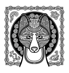 Image of dog dingo in ethnic style vector
