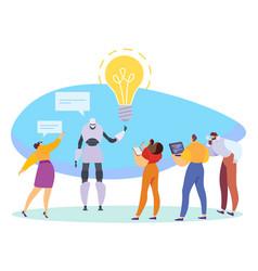 Innovative technologies robot presenting business vector