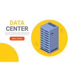isometric data center technology server backup big vector image