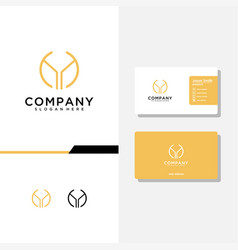 Letter ay logo design and business card template vector