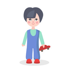 little boy playing with car toy flat icon vector image