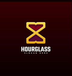 logo hour glass line art style vector image