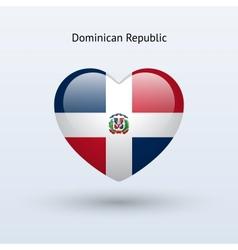 Love Dominican Republic symbol Heart flag icon vector