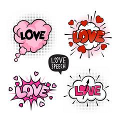 love four speech bubbles set vector image