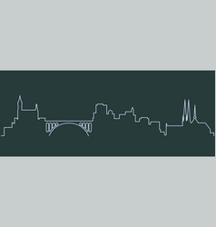 Luxembourg single line skyline vector