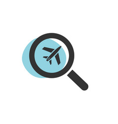 Magnifying glass looking for a flight isolated vector