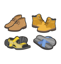Men shoes types sandals or boot sneakers vector