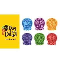 Mexican sugar skull Dia de los Muertos set vector