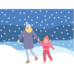 Mother kid walking in evening blizzard wintertime vector