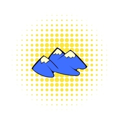 Mountain icon in comics style vector image