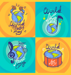 music day banner set hand drawn style vector image