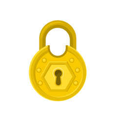 Old round-shaped padlock with ornamental engraving vector