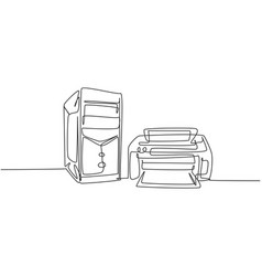 One continuous line drawing cpu computer vector