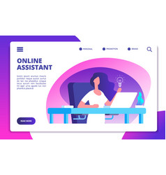 Online assistant customer global service woman vector