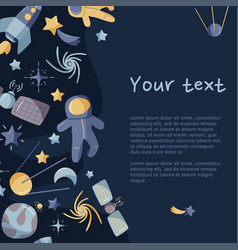 Open space abstract greeting card kids template vector
