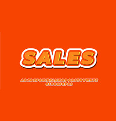 Orange with white outline 3d font style design vector
