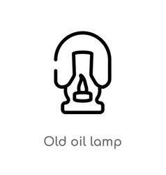 Outline old oil lamp icon isolated black simple vector