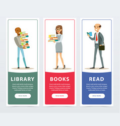 people with books banners set library books vector image