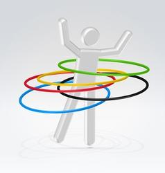 Person rotating rings vector