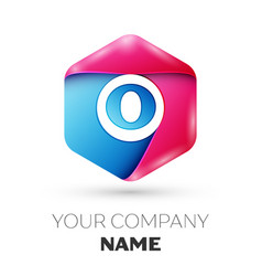 Realistic letter o in colorful hexagonal vector