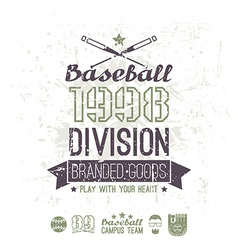 Retro emblem baseball division of college vector