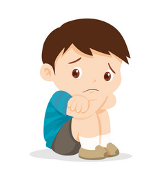 sad boy sitting alone vector image