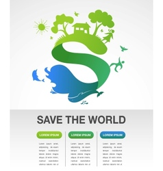 Save world - nature and ecology infographics vector