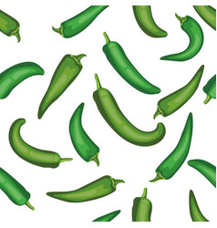Seamless chile pepper pattern tile green vector