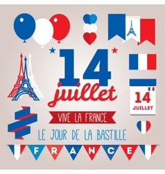 Set design elements for The Bastille Day 14 july vector