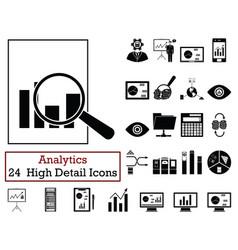 set of 24 analytics icons vector image