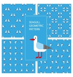Set of seamless textures with geometric seagulls vector image