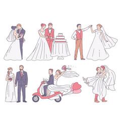 set wedding scenes with bride and groom sketch vector image