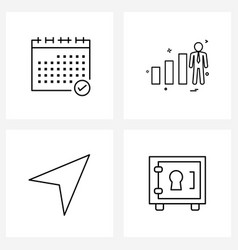 Simple set 4 line icons such as calendar rate vector