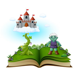 Story book with magic beanstalk castle in the clo vector