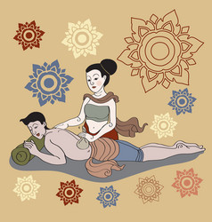 Thai massages style in colorful with hand drawn vector