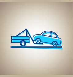 Tow truck sign sky blue icon with vector