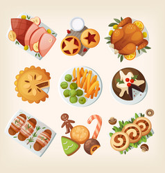 traditional christmas food vector image