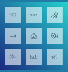 transportation icons line style set with travel vector image