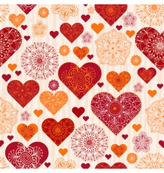 Valentine pattern with red and orange vintage hear vector image