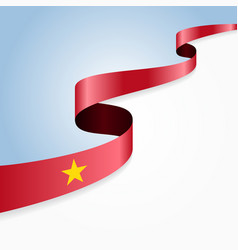 Vietnamese flag wavy abstract background vector