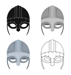 viking helmet icon in cartoon style isolated on vector image