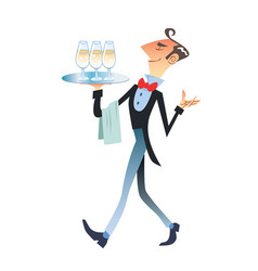 waiter carries champagne vector image