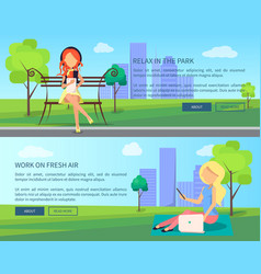 Work on fresh air banner woman with laptops vector
