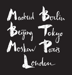 world capitals lettering vector image