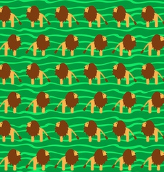 Cartoon Lion Seamless Pattern Wild Animal Africa vector image vector image