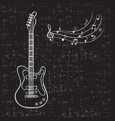 electric guitar and music notes hand drawn vector image