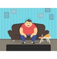 Fat man sitting at home on the sofa playing video vector image vector image