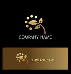 golden leaf nature logo vector image