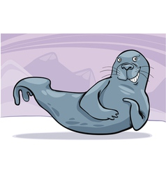 grey seal on ice vector image